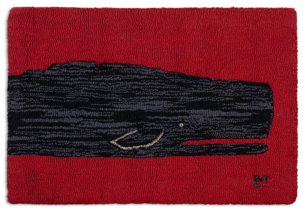 Black Whale on Red 20x30 Hooked Rug