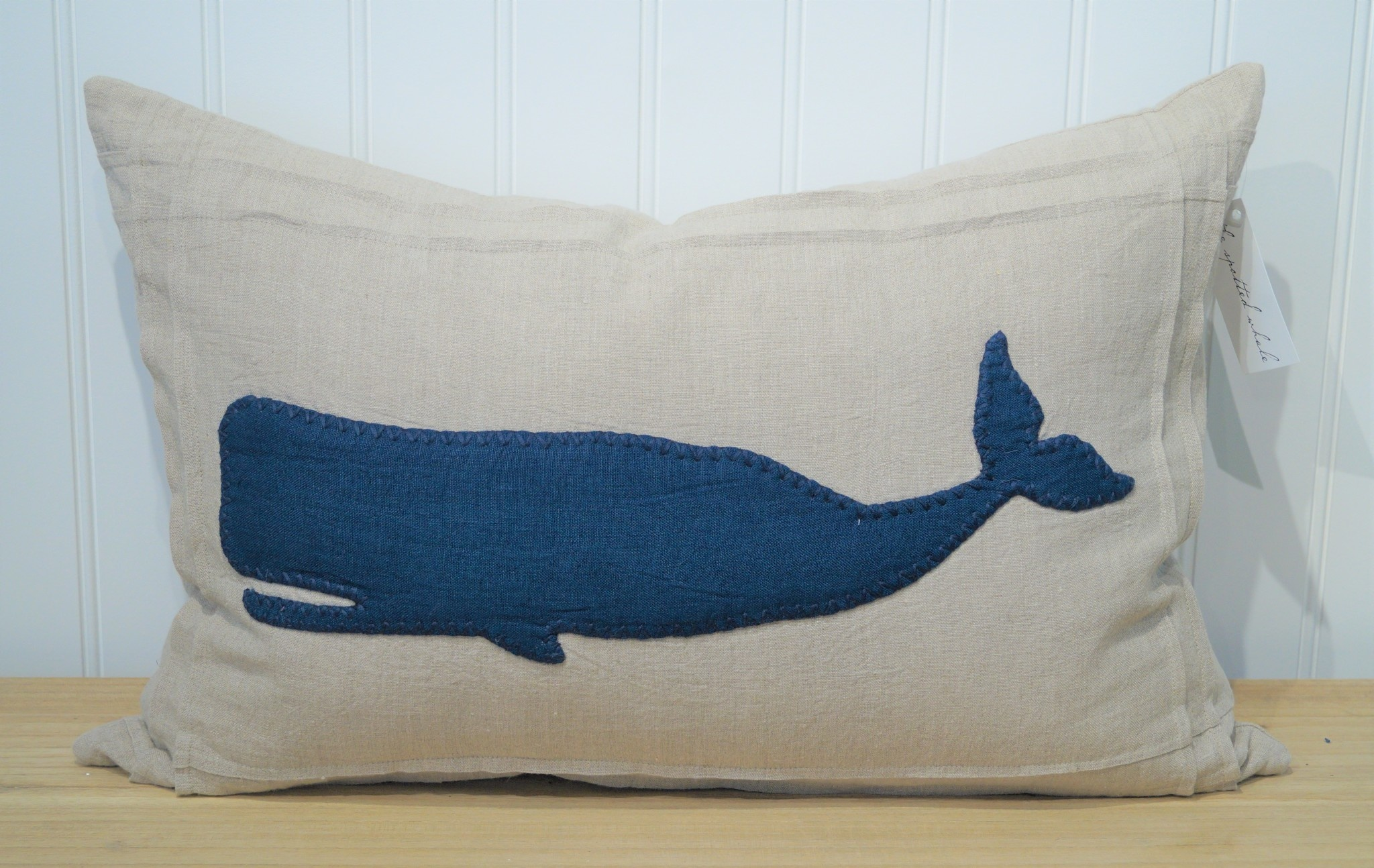 Indigo Whale on Natural Linen Pillow 16x24