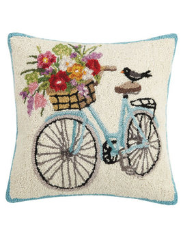 Spring Bike 18x18 Hooked Pillow