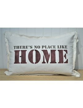 18x25 There's No Place No Home Pillow Stone Maroon