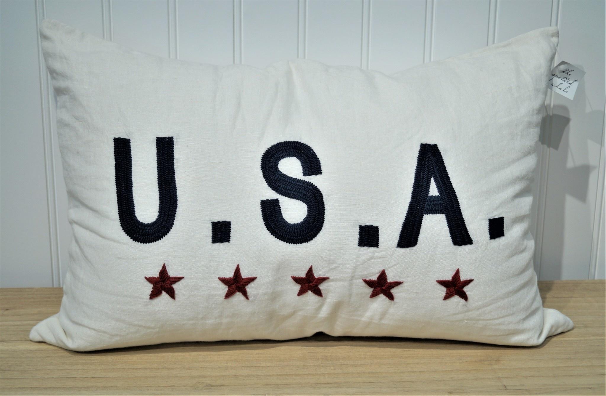 USA on White Linen 16x24 Pillow