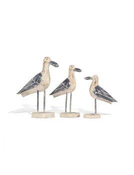 Wood Seagull on Stand, Set of 3