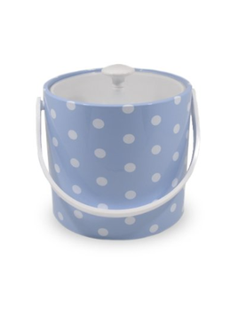 Baby Blue  w/ White Dots 3 Qt White Handle and Knob