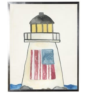 Watercolor Lighthouse with Flag 18x24