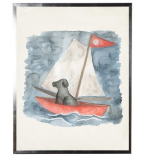 Watercolor Sailboat with Black Dog 18x24