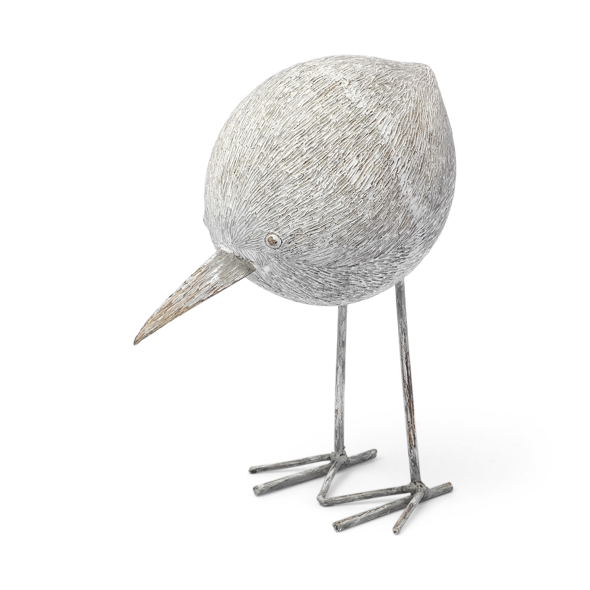 Snipe II Off White Resin Bird Ornament with Metal Feet