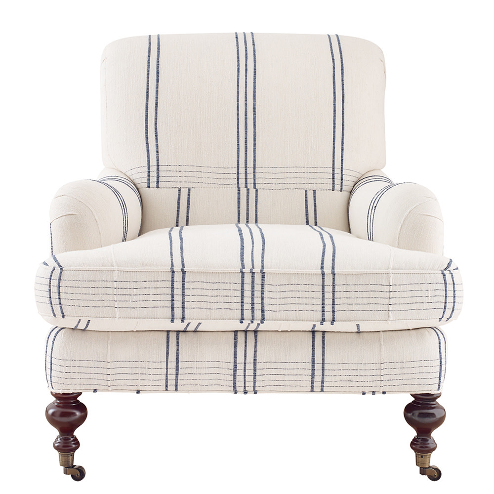 Chatsworth Club Chair Navy Windowpane