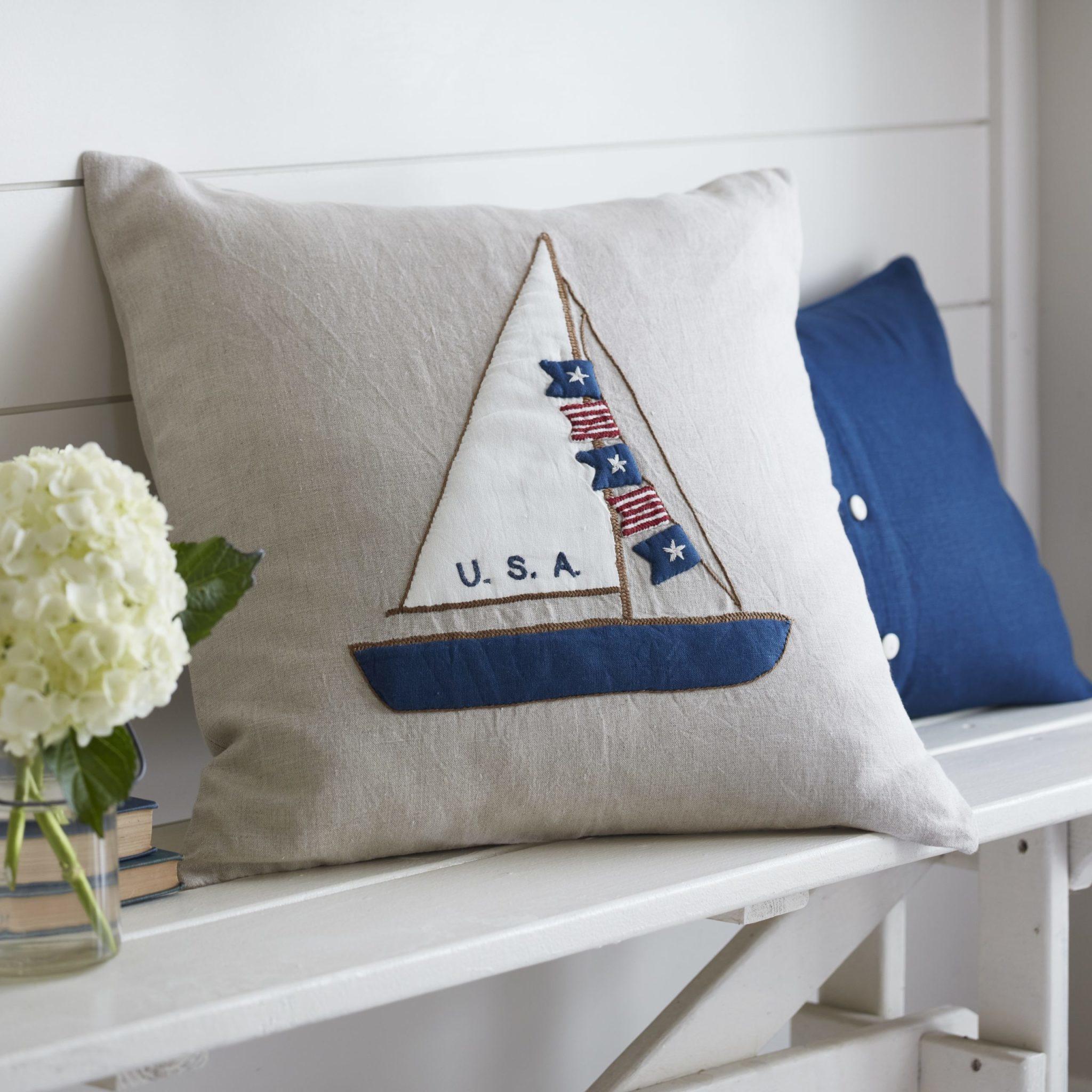 Sailboat Americana on Natural Linen Porch Pillow 21x21
