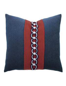 Newport Border Accent Pillow in Indigo 20x20