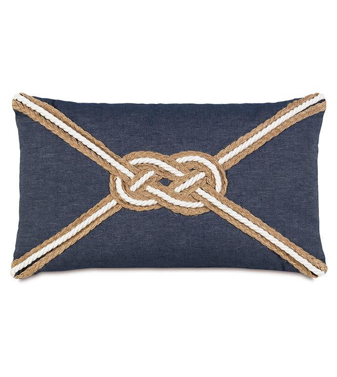 Strauss Denim with Knot 13x22 Pillow