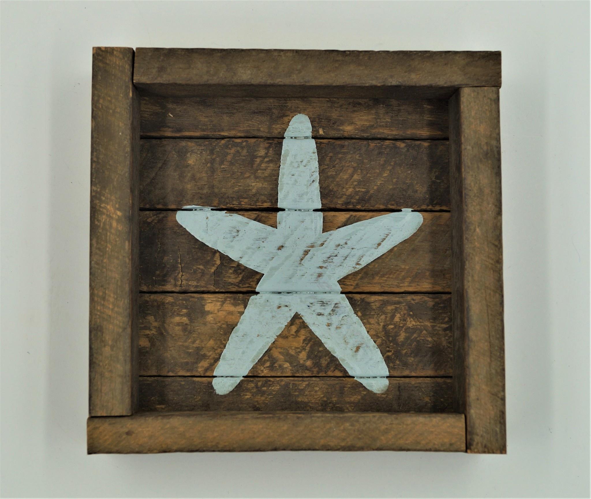 6x6 Yarmouth Blue Starfish Tobacco Cocktail Tray