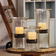 Original Glass Candle Cylinder w/ Rustic Insert Large