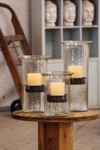 Original Glass Candle Cylinder w/ Rustic Insert Medium