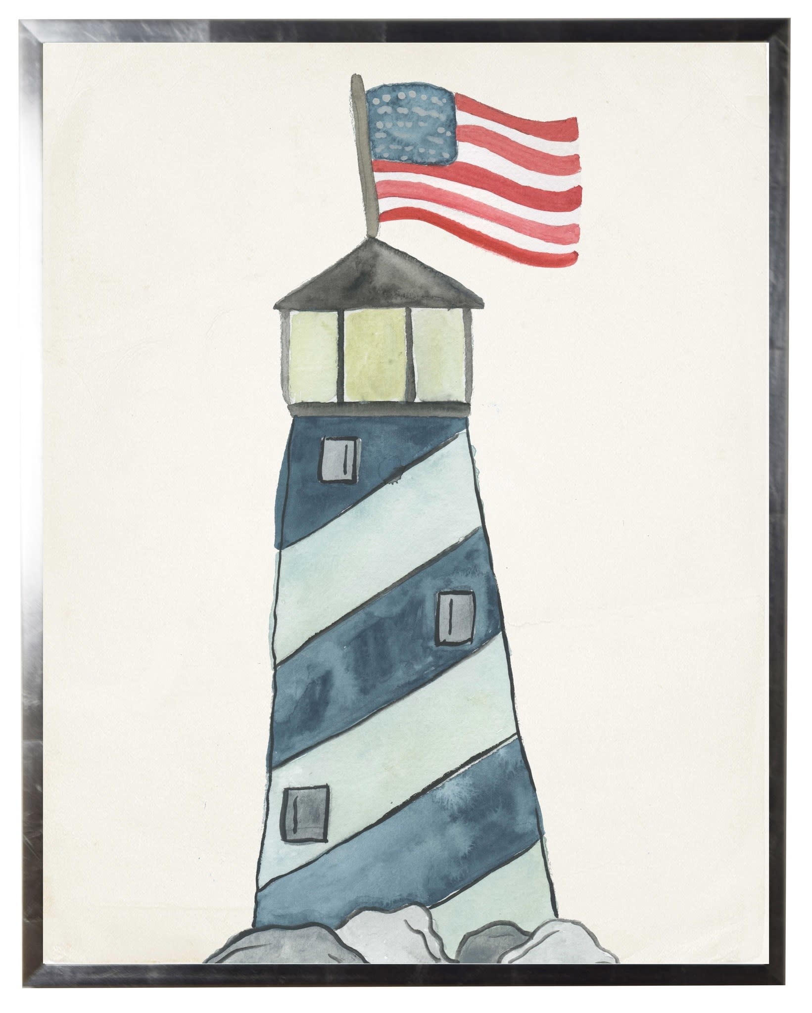 Watercolor Lighthouse with Flying Flag 30x36