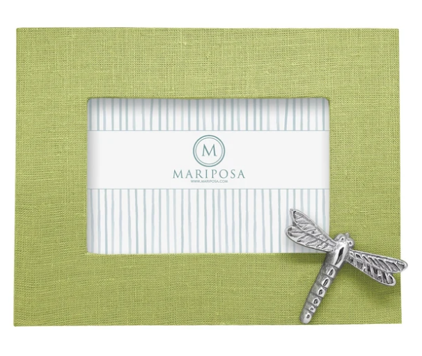 Spring Green Linen with Dragonfly Icon 4x6 Frame