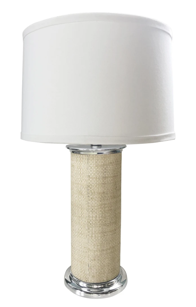 Sand Faux Grasscloth Column Table Lamp