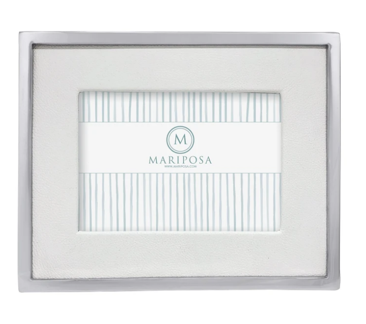 White Leather with Metal Border 5x7 Frame