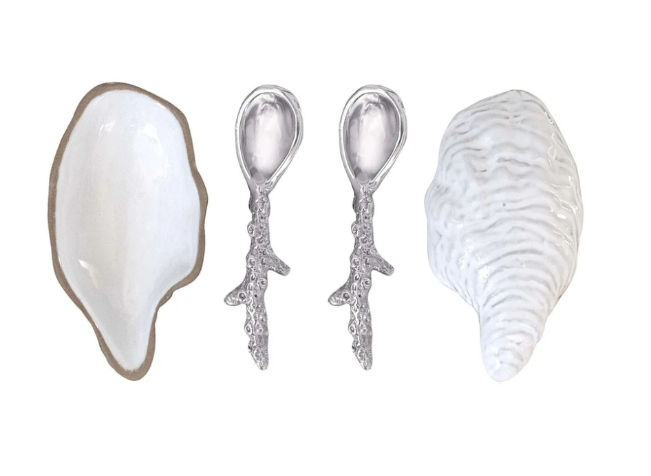 Ceramic Oyster and Spoon Set