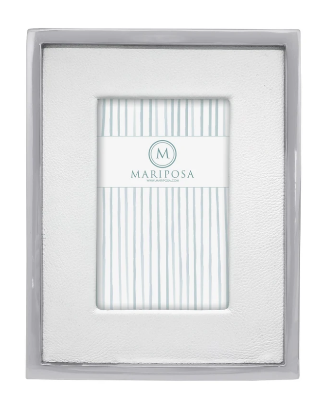 White Leather with Metal Border 4x6 Frame