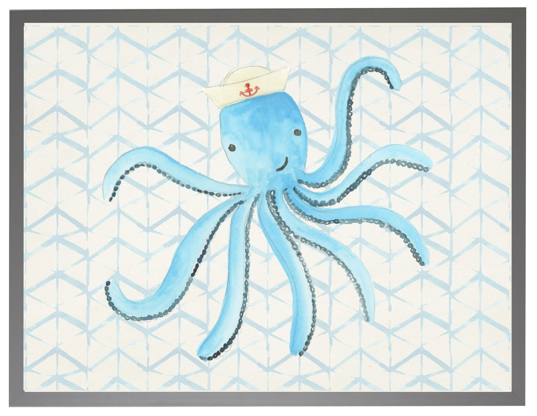 Watercolor Octopus with Sailor Hat with Geometric Background 16x20