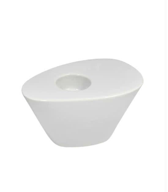"""White Wedge Candle Holder 4.5"""""""