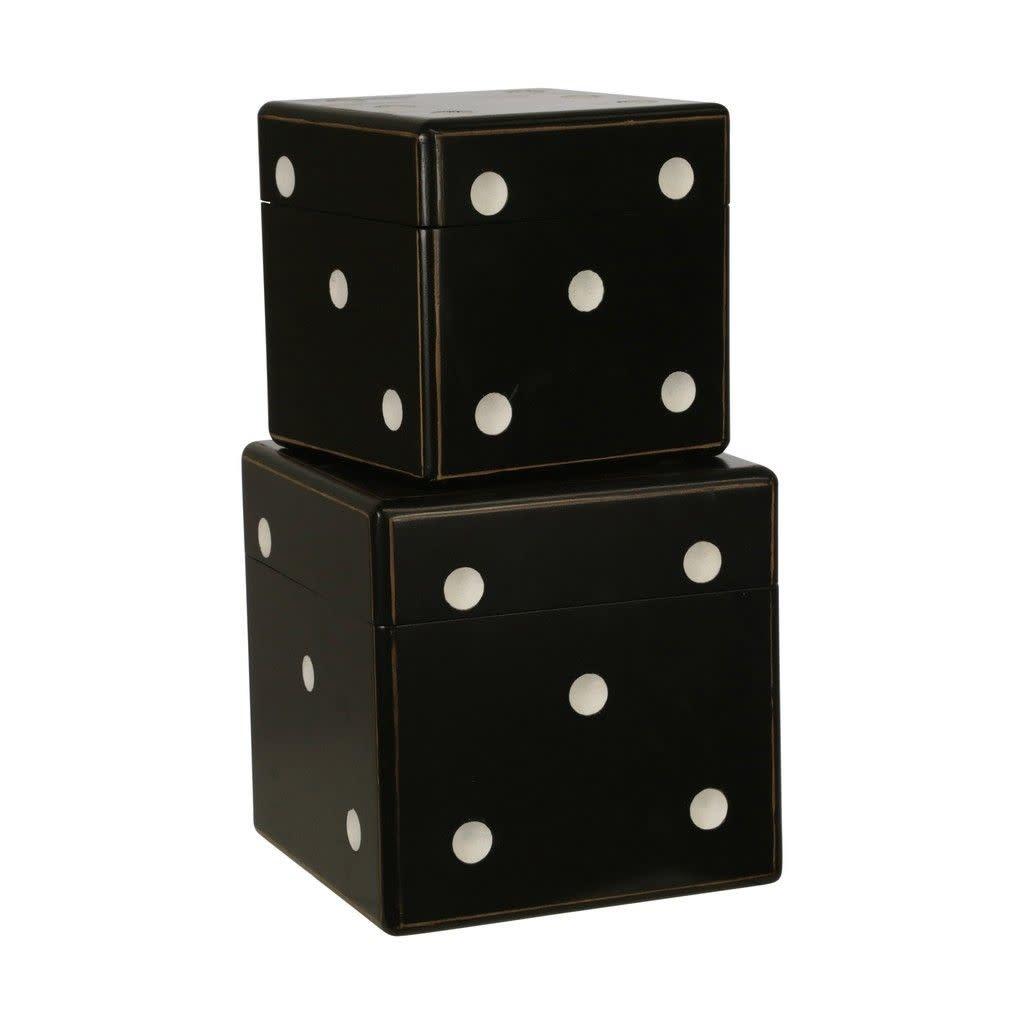 "Wood Dice Boxes 7/9"", Black Set of 2"