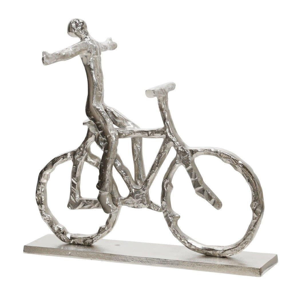 """Metal 13"""" Man on a Bicycle, Silver"""
