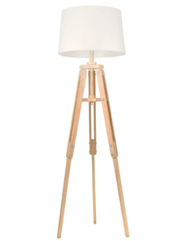 """Wood 63"""" Tripod Floor Lamp, Natural"""