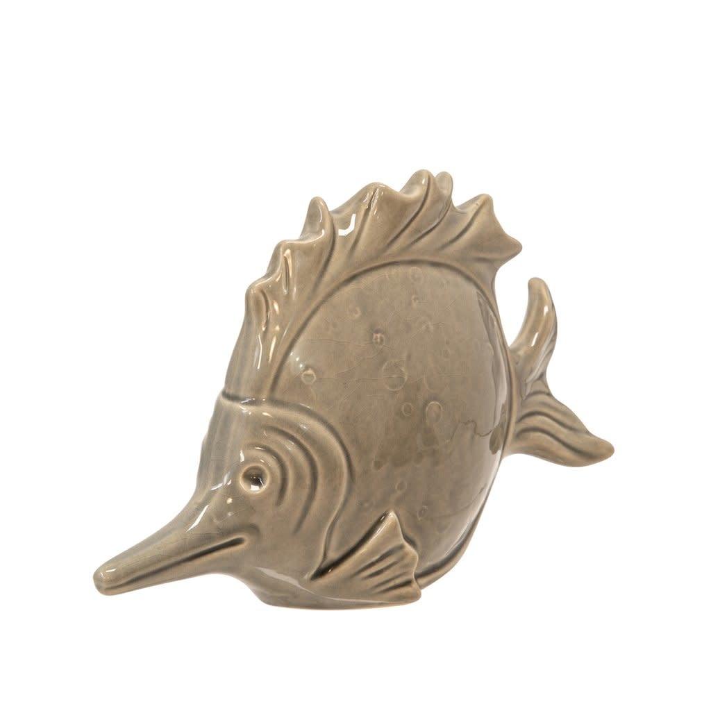 "Ceramic Fish Decor 11"", Gray"