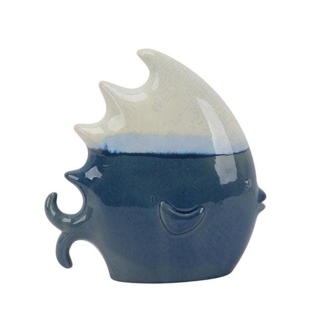 """Ceramic 9.5"""" White/Blue Fish"""