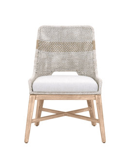 Tapestry Dining Chair Taupe & White Flat Rope, Taupe Stripe, Pumice, Natural Gray Mahogany