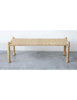 Mango Wood & Woven Rope Bench