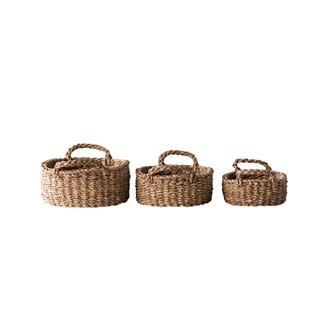 Oval Natural Woven Seagrass Baskets w/ Handles, Set of 3