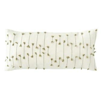 Hand-Woven Cotton Blend Lumbar Pillow w/ Woven Tassels, Natural & Green 36x16