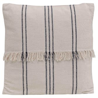 """22"""" Square Woven Cotton Striped Pillow w/ Fringe, Natural & Navy"""