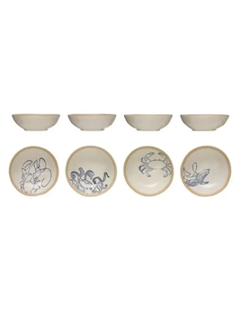 """7"""" Hand-Painted Stoneware Bowl w/ Sea Life, 4 Styles"""