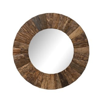 """47"""" Round Wood Mirror"""