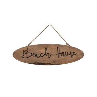 "Wood Wall Decor w/ Jute Hanger ""Beach House"""