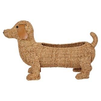 Hand-Woven Bankuan Dog Basket w/ Leather Ears