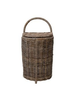 Hand-Woven Rattan Market Basket with Lid & Casters