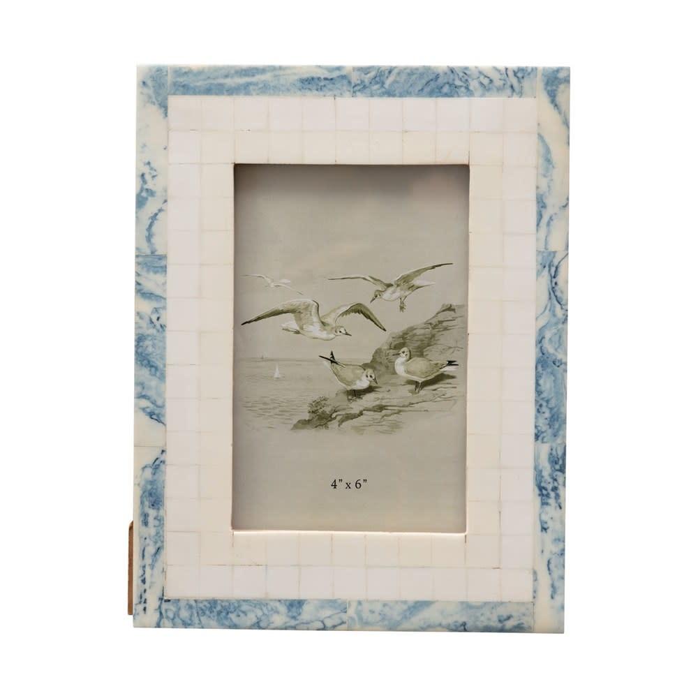 MDF & Resin Photo Frame, Blue & Ivory Color 6.5x8.5