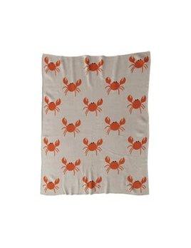 Cotton Knit Baby Blanket w/ Crabs, Cream Color & Orange 40x32