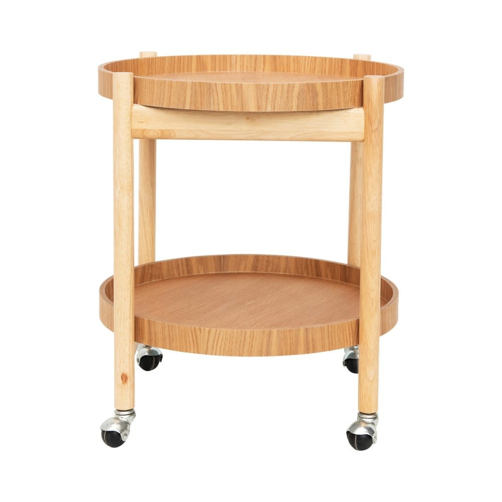 Rubberwood Bar Cart on Casters w/ 2 Removable Trays, Set of 3