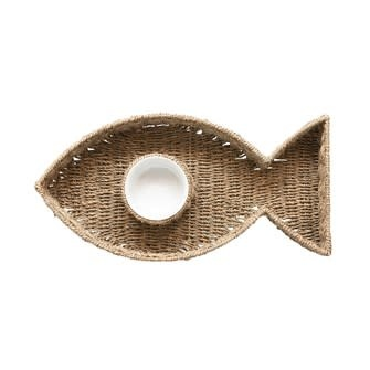 Hand-Woven Seagrass Fish Shaped Chip & Dip w/ 8oz. Ceramic Bowl, Set of 2