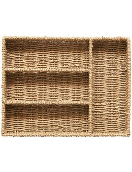 Hand-Woven Seagrass Tray w/ 4 Sections
