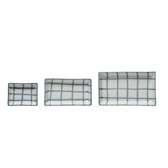Hand-Painted Stoneware Trays w/ Grid Pattern, Blue & White Large