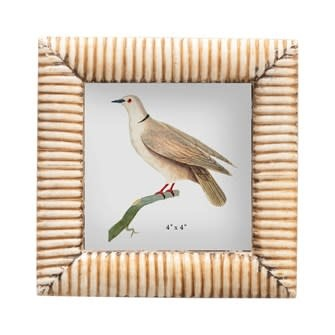 Square Hand-Carved Bone & MDF Photo Frame w/ Ribbed Pattern, Natural