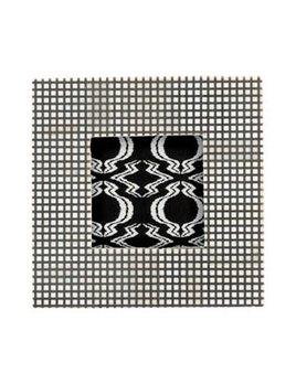 Square Bone & MDF Photo Frame w/ Checked Pattern, Natural & Black
