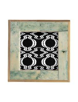 """4"""" Square Bone & MDF Photo Frame w/ Bamboo Edge, Marbled Aqua"""