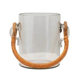 2 Quart Glass Ice Bucket w/ Bamboo Wrapped Handle